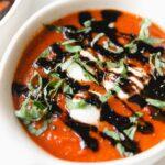 bowl of caprese tomato soup
