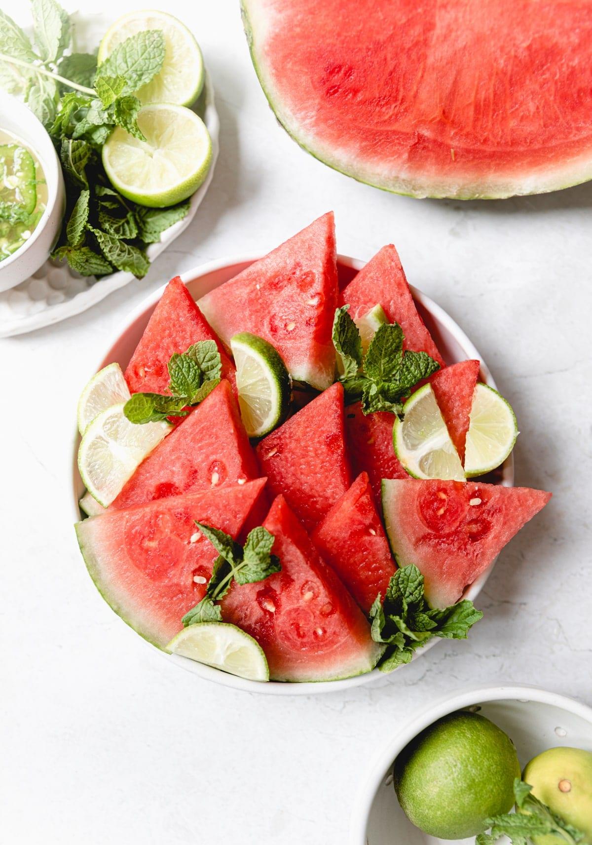 watermelon mojito salad in a white bowl