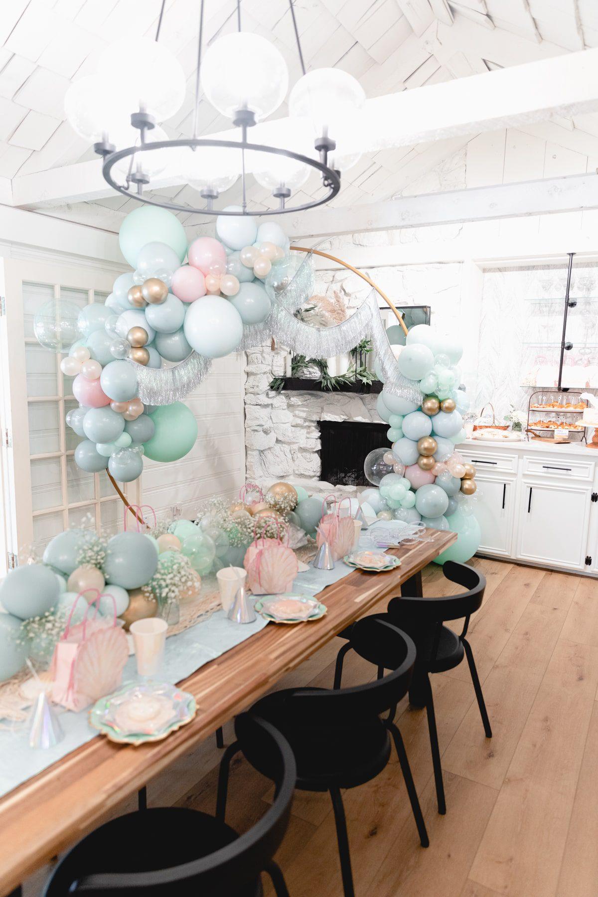 large balloon hoop garland for Mermaid Birthday Party