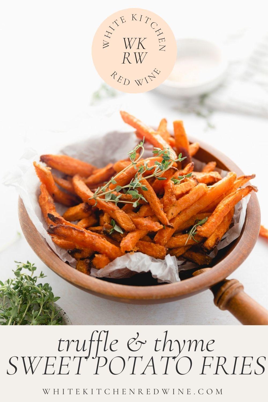 sweet potato fries in a dish Pinterest image